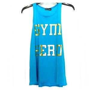 "Turquoise ""Gym Hero"" Workout Tank Top"